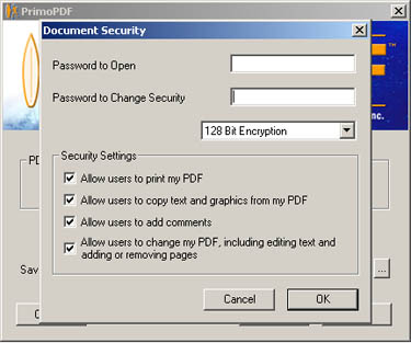 PrimoPDF Security Options