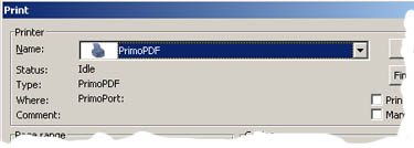 Selecting PrimoPDF Driver in Microsoft Word
