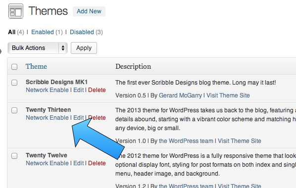 WordPress network disabled theme