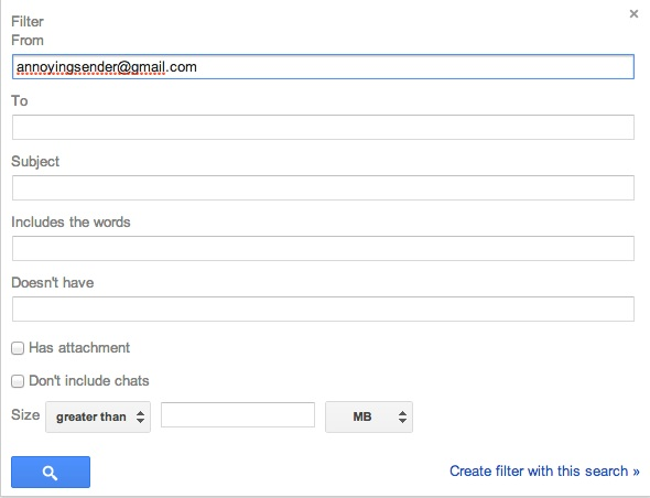 Gmail: filter by email address