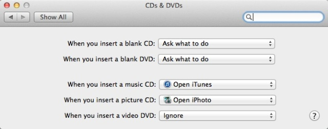 Mac OS DVD autoplay settings